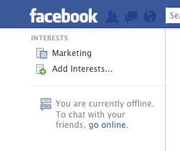 Facebook left menu - Facebook Interest List